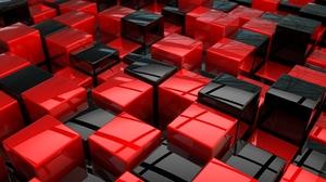 3d Abstract Black Colors Cube Digital Art Geometry Red 1920x1080 Wallpaper