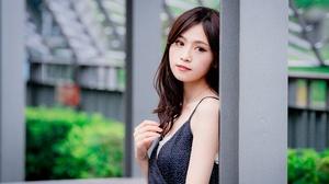 Asian Brown Eyes Brunette Depth Of Field Dress Girl Model Woman 6923x4618 Wallpaper