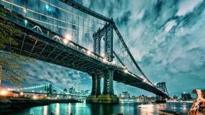 Manhattan Manhattan Bridge Bridge Architecture USA New York City Night Water Lights City Cityscape B 1920x1080 Wallpaper