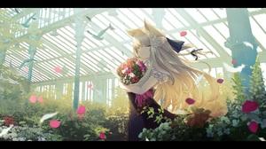 Anime Anime Girls Digital Art Artwork 2D Portrait Sagiri Ulpha220 Animal Ears Blonde Closed Eyes Dre 2500x1450 wallpaper