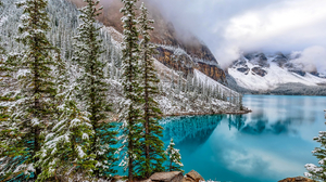 Canada Earth Lake Moraine Lake Mountain Reflection Rock Snow Tree Turquoise Winter 3000x2000 Wallpaper