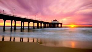 Horizon Man Made Ocean Pier Sunset 1920x1080 wallpaper