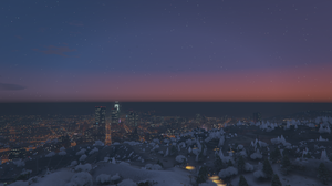 Grand Theft Auto V Los Angeles City Sunset Snow Forest 3840x2160 Wallpaper