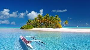 Island Kayak Polynesia Sea 2200x1460 wallpaper