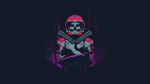 Astronaut Cyberpunk Dark Gun Skull 3840x2160 wallpaper