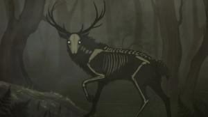 Creepy Creature Deer Skeleton Bones Skull Animals Glowing Eyes Trees Forest 1920x1080 Wallpaper