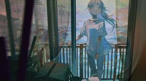 Anime Anime Girls Long Hair Blue Hair Balcony Cyborg Jeans Boxes Curtains River Blue Eyes Pillar Uti 5600x3150 Wallpaper