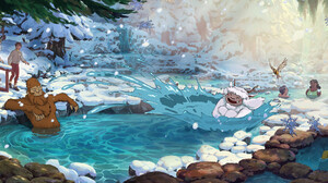 Oregon Portland Travel Oregon Studio Ghibli Hayao Miyazaki Yeti Sasquatch Squatch Digital Painting L 3042x1092 Wallpaper