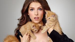 Actress American Anna Kendrick Baby Animal Blue Eyes Brunette Cat Kitten 4006x2244 Wallpaper