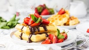 Breakfast Still Life Strawberry Waffle 5472x3648 Wallpaper