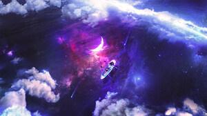 Moon Water Lake Boat Clouds Digital Art Digital Artwork Nature 1920x1080 Wallpaper
