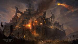 Ryan Lowe Digital Art Fantasy Art Siege Fantasy City Castle Spear 1920x1049 Wallpaper