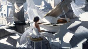 Bird Dove Girl Instrument Painting Piano Sheet Music White Dress 3840x2160 Wallpaper