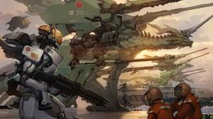 Robot Mecha Fight Mech War Fantasy Art Concept Art Toshiaki Takayama 1500x1072 Wallpaper