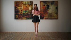 Ksenia Kokoreva Sergey Fat Portrait Women Shirt Black Skirts Barefoot Pink Shirt Long Hair Straight  1920x1080 Wallpaper