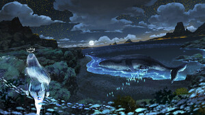 Watermother Jian Digital Art Fantasy Art Whale Beach Starry Night Fish Surreal Night Moon Moonlight  1500x844 Wallpaper