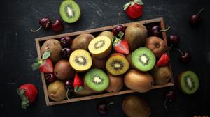 Food Fruit Kiwi Fruit Strawberries Berries 1920x1080 Wallpaper
