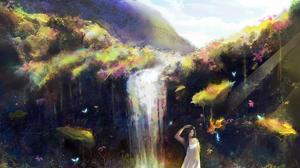 Butterfly Fantasy Fish Girl Waterfall 3000x1688 Wallpaper