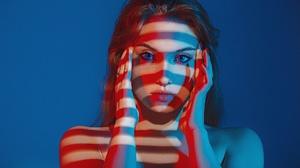 Grigoriy Lifin Model Women Blue Eyes Brunette Face Mouth Lips Lipstick Bare Shoulders Touching Face  1920x1280 wallpaper