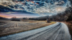 Field Road Sky 3840x2160 Wallpaper