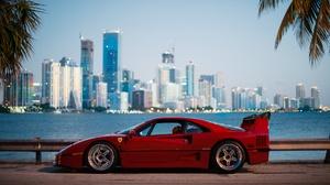 Car City Depth Of Field Ferrari Ferrari F40 Red Car Sport Car Vehicle 1920x1280 Wallpaper