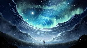 Aurora Borealis Blue Night Stars Wizard 1920x1080 wallpaper