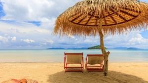 Outdoors Beach Sky Sea Deck Chairs 2560x1707 Wallpaper