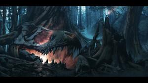 Artwork Digital Art Night Fantasy Art Skull 3840x1829 Wallpaper