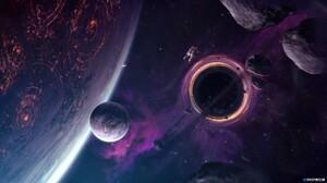 Galaxy Space Purple Background Wormhole Black Holes 1920x1080 Wallpaper