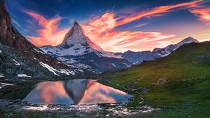 Dawn Lake Matterhorn Mountain Reflection Switzerland 2048x1366 wallpaper