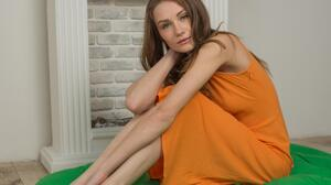 Orange Model Green Women Orange Dress Touching Hair Brunette Long Hair Blue Eyes 3200x4800 Wallpaper