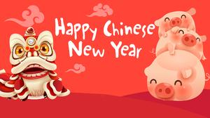 Chinese New Year Dragon Pig 2560x1440 Wallpaper