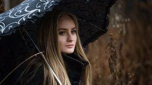 Women Blonde Looking Into The Distance Rain Umbrella Women Outdoors Coats Black Coat Straight Hair L 2560x1703 Wallpaper