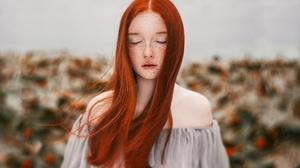 Depth Of Field Freckles Girl Long Hair Model Redhead Woman 2048x1365 Wallpaper