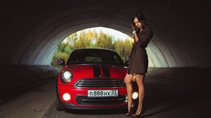 Women Car Model Vehicle Standing Red Cars Numbers Tunnel Legs Heels Women With Cars 2560x1707 Wallpaper