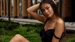 Oleg Klimin Women Olya Nefyodova Brunette Looking At Viewer Dress Black Clothing Park Moles Smiling  1440x2160 wallpaper