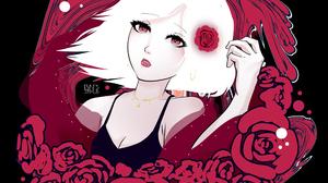 Anime Girls Roses White Hair Red Fantasy Art Illustration Digital Art Love Anime 2620x2860 Wallpaper