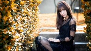 Asian Black Dress Brunette Depth Of Field Girl Model Woman 2560x1603 wallpaper