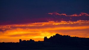 Arches National Park Dusk Earth Hill Nature Silhouette Sky Sunset Usa Utah Orange Color 2200x1468 wallpaper