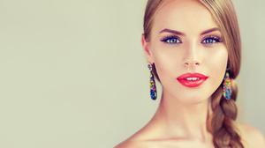 Girl Makeup Braid Earrings Lipstick Blonde Blue Eyes 6000x4635 Wallpaper