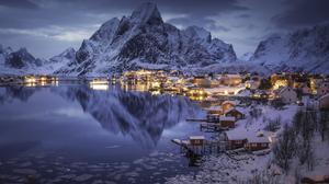 Night Water Waterscape Landscape Mountains Snow Photography Winter Pawel Uchorczak Reflection Lights 1920x1280 Wallpaper