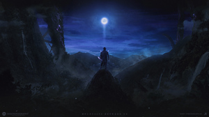 Fantasy Landscape Man Night 2560x1440 Wallpaper