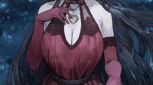 Sonchi Anime Anime Girls Artwork Horns Long Hair Black Hair Red Eyes Blush Dress Elbow Gloves POV 1000x1500 Wallpaper
