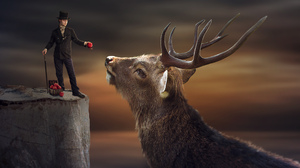 Artistic Manipulation Man Top Hat Magician Deer Buck 6273x4333 Wallpaper