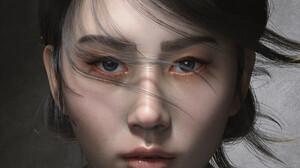 Ali Arto ArtStation Artwork Digital Art Women Asian Face Portrait Render CGi Looking At Viewer Black 1200x1922 Wallpaper