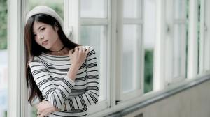 Asian Brunette Depth Of Field Girl Hat Long Hair Model Woman 2048x1366 wallpaper
