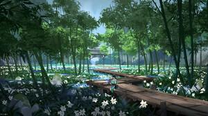 G Liulian Digital Art Fantasy Art Bamboo Flowers Landscape 1920x823 Wallpaper