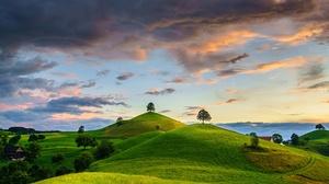 Sky Cloud Tree Hill Switzerland 2400x1457 Wallpaper