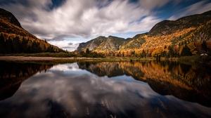 Canada Fall Forest Lake Mountain Reflection 6403x4269 Wallpaper