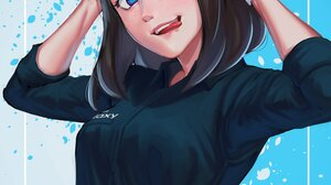 Sam Samsung Virtual Assistant Samsung Women Brunette Blue Eyes Tongue Out Black Clothes Black Clothi 1500x1920 Wallpaper